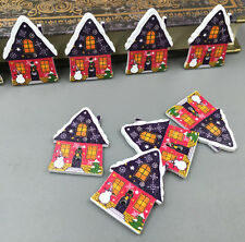 Christmas Wooden Buttons houses shape Sewing crafts scrapbooking decoration 33m