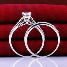 2Pcs Women Engagement Wedding Cubic Zirconia 925 Silver Plated Ring Set Sz6-9