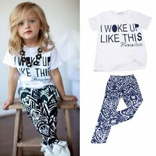 Toddler Kids Baby Girls Outfits Clothes T-shirt Tops+Pants Trousers 2PCS Hot Set