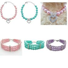 Pet Dog Puppy 3 Rows/Love Heart Pearls Crystal Necklace Collar Jewelry Pendant