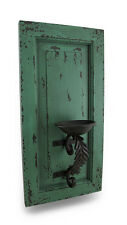 Distressed Finish Wood and Metal Wall Sconce Candle Holder