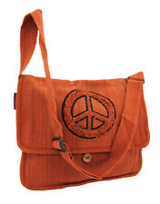 Cotton Purse with Fringed Peace Sign Embroidery