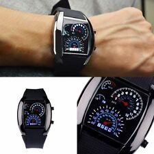 Mens Sports RPM Turbo Blue Flash LED Sports Car Meter Dial Watch Wristwatch