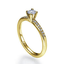 0.40 CT 14K Yellow Gold Solitaire Engagement Ring Size 9 Round D VS1 Diamond
