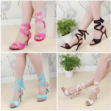 Womens Roma High slim Heel Lace Up Slingbacks Open Toe Summer Sandals Shoes Sz