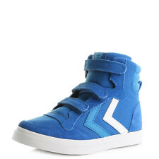 Kids Boys Hummel Stadil Canvas Junior Imperial Blue High Top Trainers Sz Size