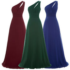 One Shoulder Long Formal Wedding Evening Ball Gown Party Prom Bridesmaid Dress