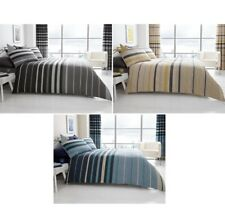 LUXURY BLOCK STRIPES DUVET QUILT COVER BEDDING BED LINEN SET + PILLOWCASE NEW
