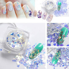 1Box Nail Art Sequins Tips Paillette Manicure Blue Glitter Tips Nail Decoration