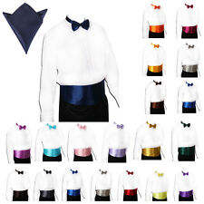 Top Bowtie Mens Cummerbund and Bow Tie Plain Satin Hanky Wedding Party