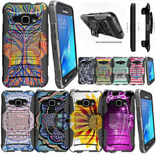 For Samsung Galaxy Amp 2 Stand Clip Protective Dual Layer Case + Tempered Glass