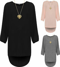 Plus Womens Knit Baggy Necklace Dress Top Ladies Hi Lo Dip Hem Long Sleeve