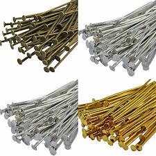 40mm & 50mm Jewellery findings Bronze, Gold & Silver Plated Metal Flat Head Pins