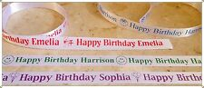 PERSONALISED HAPPY BIRTHDAY WHITE SATIN RIBBON 15MM WIDTH GIFT WRAPPING ANY NAME