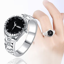 Creative 1Pc Women Watch Ring Rhinestone Finger Circle Ring Jewelry Gift Newest