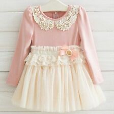 Latest Pink Baby Girls Kids Clothing Spring/Fall Dress 4 Sizes 2-6 Year KK011