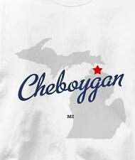 Cheboygan, Michigan MI MAP Souvenir T Shirt All Sizes & Colors