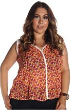 DEALZONE Charming Floral Chiffon Top 1X Women Plus Size Multi-Colored