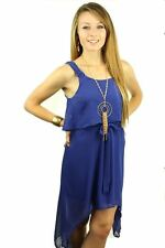 DEALZONE Fascinating Chiffon Flutter Dress S Small Women Blue Career