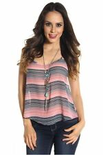 DEALZONE Attractive Chiffon High Low Top S M Small Medium Women Pink Casual