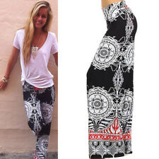 Vogue Women's Floral Casual Wide Leg Lady Stretch Pants Loose Palazzo Trousers