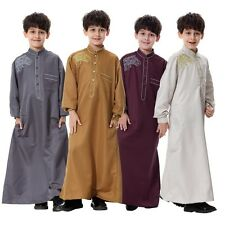 Child Kids Unisex Saudi Thobe Thoub Robe Daffah Dishdasha Islamic Arabian Kaftan