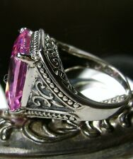 10ct Pink Gem Solid Sterling Silver Gothic Filigree Ring Size {Made To Order}