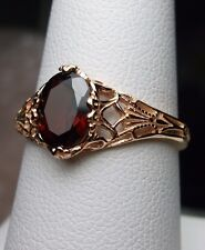 1.3ct Oval Red Garnet Solid 14k Rose Gold Victorian Filigree Ring Size Any/MTO