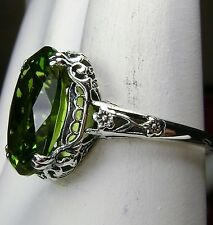 5ct Oval*Peridot* Sterling Silver Victorian/Edwardian Filigree Ring Size Any/MTO