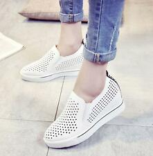 New Breathable Hidden Wedge Heel Pull On Womens Slip on Loafers hollow out Shoes
