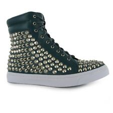 Jeffrey Campbell Alva Studded Hi Top Trainers Womens Blue/Silver Sneakers Shoes