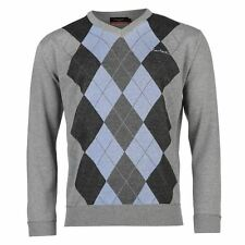 Pierre Cardin Argyle Knit Jumper Mens Grey/Blue Sweater Pullover Top