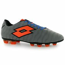 Lotto Shoes Solista FG Firm Ground Football Boots Mens Silver/Orn Soccer Cleats