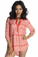 DEALZONE Printed Button Front Pocket Top S Small Women Orange Short Sleeve