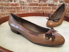B Makowsky Utah Brown Leather Snake Bow Detail Classy Ballet Flats New