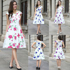 New Vintage 1950s Style Floral Rose Pattern Skater Circle Party Dress Plus Size