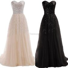 New Women Sexy Strapless Sequins Cocktail Party Ball Gown Evening Long W3LE02