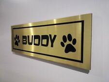 """Personalised dog kennel aluminium sign plaque **Choice of GOLD/SILVER/BLACK"""""""""""