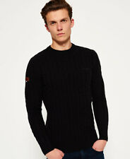 New Mens Superdry Harlo Cable Crew Neck Jumper Black