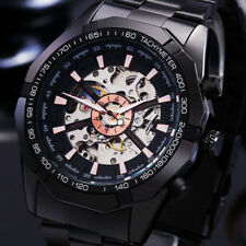 Men's Automatic Mechanical Stainless Steel Wrist Watch Skeleton White Black
