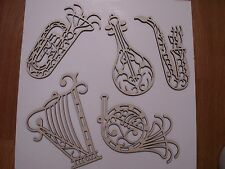 Music Instrument Wood Shapes, Laser Cut, Music Wall Art, Christmas Decorations