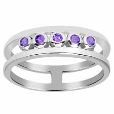 Orchid Jewelry 925 Sterling Silver 0.50 Carat Amethyst Five Stone Ring