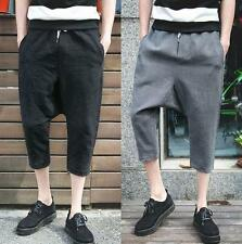 Chic Mens loose pants linen blend breath harem cropped trousers casual shorts YT