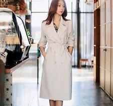 New Korean Long Trench Coat Jacket OL Style Womens Retro Double Breasted Outwear