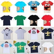 Toddler Kids Boys Cartoon Tops T-shirt Short Sleeve Casual Tee Shirts Children