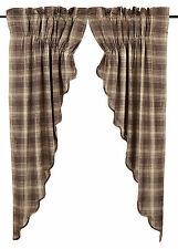 Dawson Star Prairie Swags in Woodland Brown and Khaki Plaid, Choice of Two Sizes