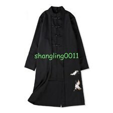 Mens Embroidery Chinese Style Wool Jacket Long Coat Overcoat Trench Coat Jacket