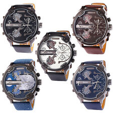 OULM Sport Dual Time Zone Analog Quartz Mens PU Leather Gents Wrist Watch 53MM