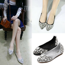 New Women Lady Pointed Toe Flats Shiny Rhinestone Bridal Comfy Casual Shoes Size