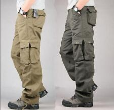 Mens Loose Straight Cargo Pants Cotton overalls Military Trousers Pockets New YT